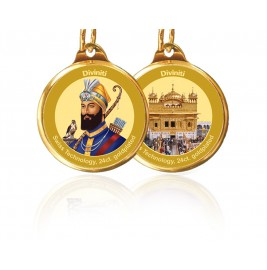 PENDANT DOUBLE SIDED SIZE 28MM GURU GOBIND SINGH & GOLDEN TEMPLE