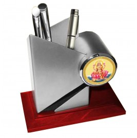 24K GOLD PLATED LAXMI METALLIC PEN HOLDER WITH WOODEN BASE