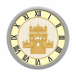 WALL CLOCK SILVER ROUND ROMAN  GOLDEN TEMPLE
