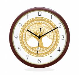 WALL CLOCK BROWN ROUND NUMERIC  TREE OF LIFE