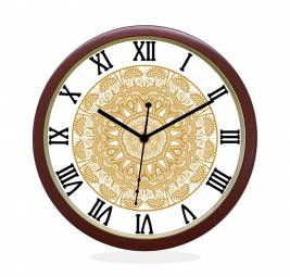 WALL CLOCK BROWN ROUND ROMAN  FLORAL