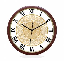 WALL CLOCK BROWN ROUND ROMAN  HEART