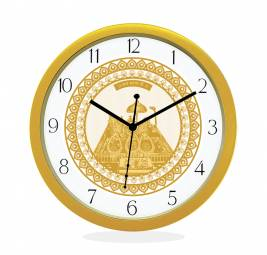 WALL CLOCK GOLD ROUND NUMERIC  GOLDEN TEMPLE