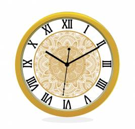 24K GOLD PLATED WALL CLOCK GOLD ROUND ROMAN  HEART
