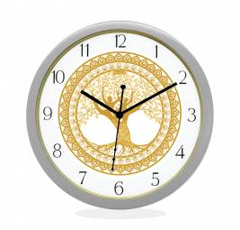 WALL CLOCK SILVER ROUND NUMERIC  TREE OF LIFE