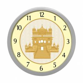 WALL CLOCK SILVER ROUND NUMERIC  GOLDEN TEMPLE