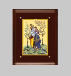 24K GOLD PLATED MDF FRAME  SIZE 3 CLASSIC COLOR RADHA KRISHNA -1