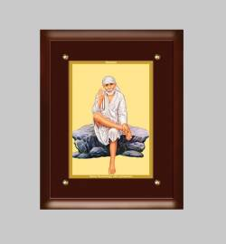24K GOLD PLATED MDF FRAME  SIZE 3 CLASSIC COLOR SAI BABA -2